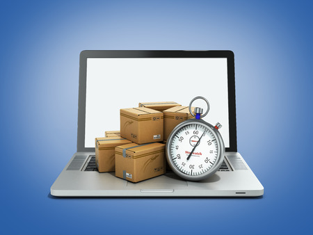 box and stopwatch standing on a laptop concept of delivery 3d render