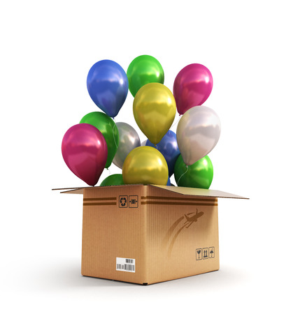 colored balls in a cardboard box for deliveries isolated on white background 3d render