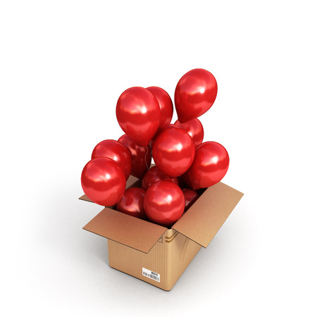 red balls in a cardboard box for deliveries isolated on white background 3d render Stock Photo