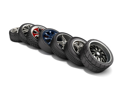 pneumatic tyres: wheels with tires car standing in a row isolated on white 3d illustrations