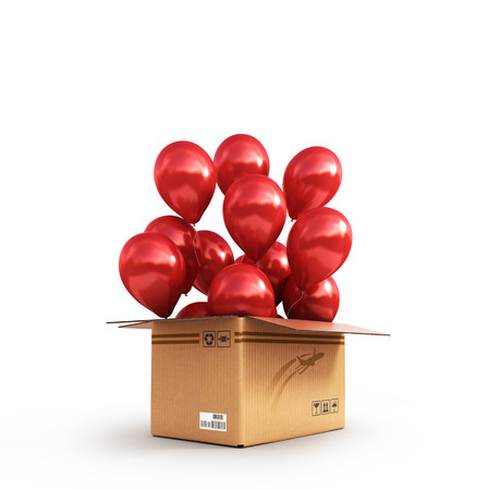 red balls in a cardboard box for deliveries isolated on white background 3d illustration Stock Photo