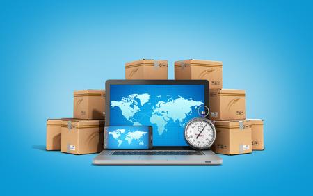 Scatole di cartone pacchetto pacchi e laptop - Logistica, carico, consegna e spedizione concetto rendering 3D su gradiente backgrownd Archivio Fotografico - 63527245