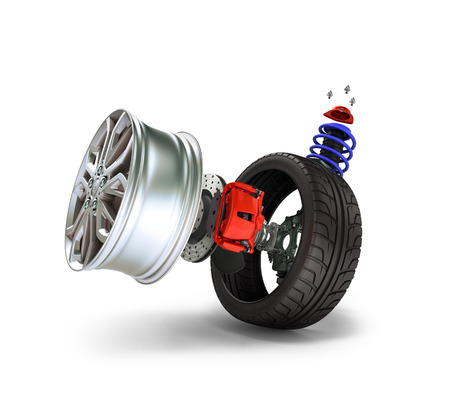 rims: Concept of tire service. Wheels, Rims , brake pads and discs. CAR PARTS. Isolated on white background High resolution 3d render.