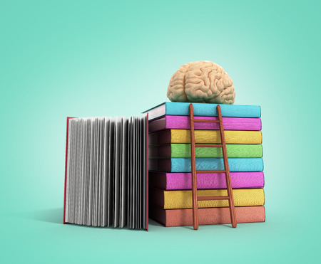 information medium: brain training concept lies on a pile of books and a wooden staircase next to them 3d render on a gradient background