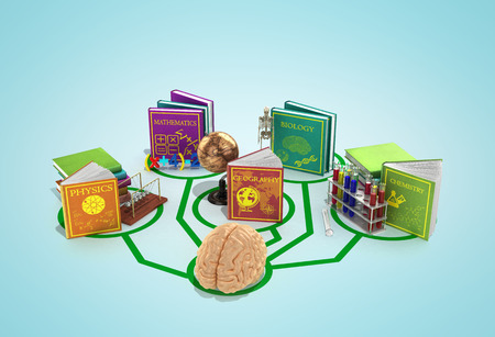 education concept, the brain is connected to the lines of books dedicated to different sciences 3d render on a gradient background