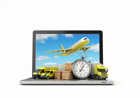 modes: concept of fast international deliveries different modes of transport near the boxes and laptop 3d illustration on white