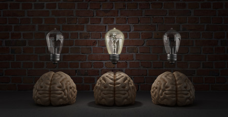 arose: concept idea arose three brain lie on the floor and one of them emits light bulbs 3d rendering on a background of a brick wall