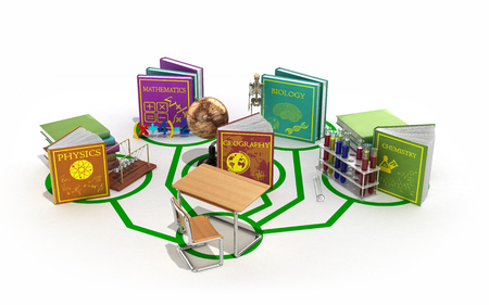 education concept, the school desk is connected to the lines of books dedicated to different sciences 3d render on a white background