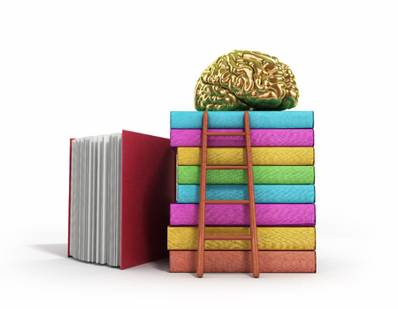 Gold brain training concept lies on a pile of books and a wooden staircase next to them 3d render on a white background