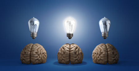 concept idea arose three brain lie on the floor and one of them emits light bulbs 3d rendering on a gradient background
