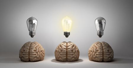 concept idea arose three brain lie on the floor and one of them emits light bulbs 3d rendering on a gray gradient background Stock Photo