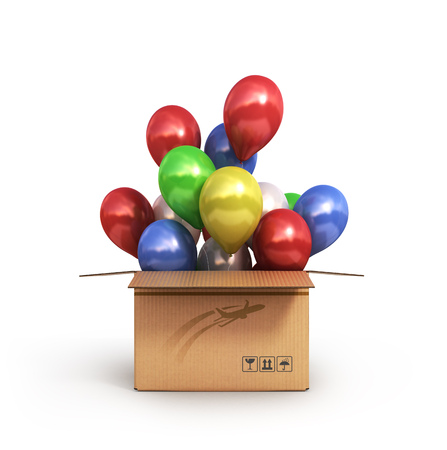 invitation barcode: colored balls in a cardboard box for deliveries isolated on white background 3d illustration