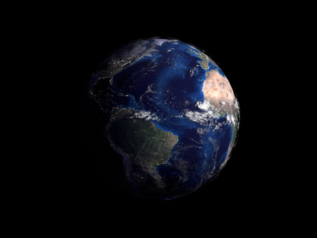earth from space: planet earth on black background view from space 3d render Stock Photo