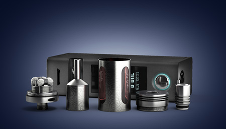 atomizer: serviced atomizer in disassembled form for soaring electronic cigarettes 3d render Stock Photo