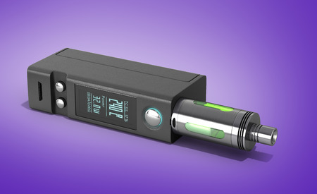 mod: Electronic cigaretts Device box mod to smokeless smoking 3d render on gradient