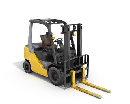 Forklift loader isolated on white 3D render 写真素材