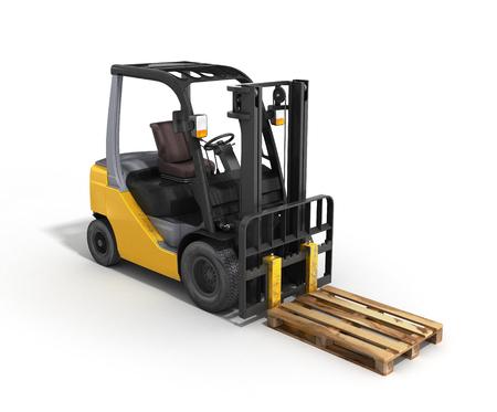 warehousing: Forklift loader whith pallet isolated on white 3D render