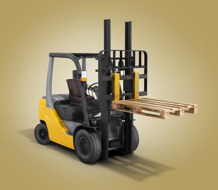 stockpile: Forklift loader raised pallet isolated on gradient 3D render