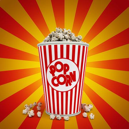 Popcorn in striped bucket 3d render