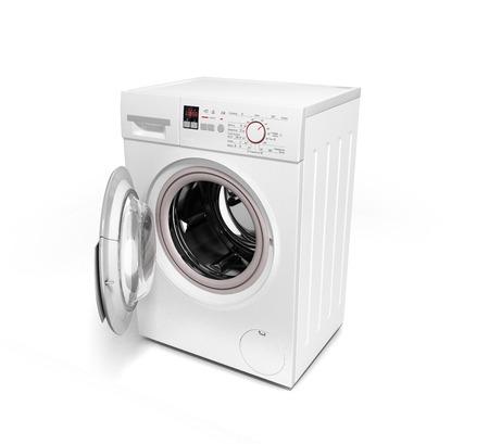 workingman: open washing machine on white background 3D illustration