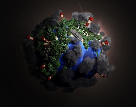 darck: ekokontsept nature preservation the planet is covered with trees clouds flying over it 3d render in darck background