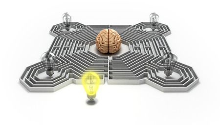 the concept of finding a solution difficult situation the brain is in a maze and light bulb at the entrance 3d render
