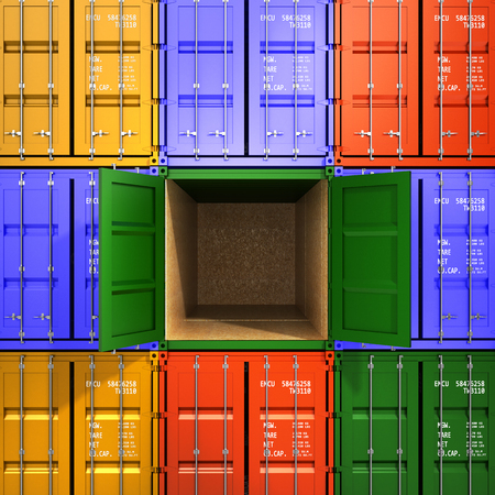 dockyard: Background of the transport containers with one open in the middle the concept of freight traffic 3d render