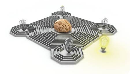 concept of finding a solution difficult situation the brain is in a maze and light bulb at the entrance 3d render Stock Photo