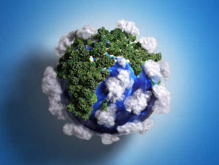 ekokontsept nature preservation the planet is covered with trees clouds flying over it 3d render on gradient