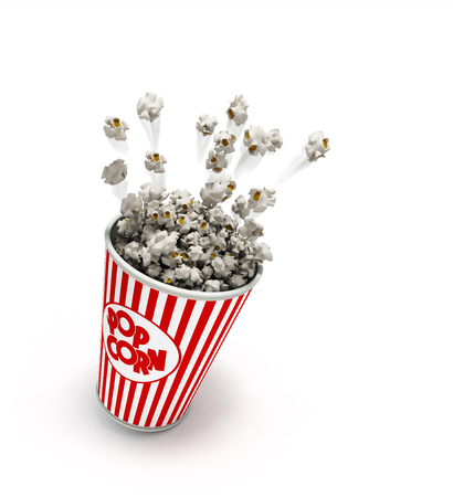 xl: Popcorn in a striped red glass flies 3d render on a white background