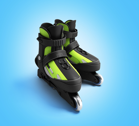render: inline rollers skates 3d render on gradient backgrownd