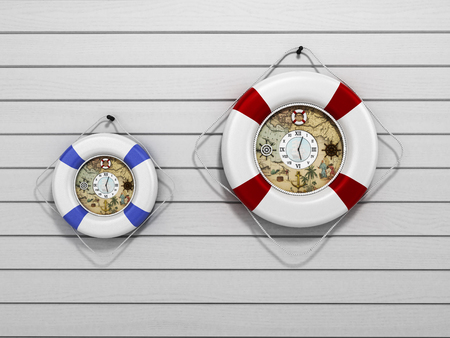 flotation: lifebuoy decor in the form of clock 3c render on a white wooden background