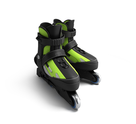 inline: inline rollers skates 3d render isolated on white