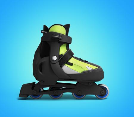 Inline rollers schaatsen 3d render op gradiënt achtergrond