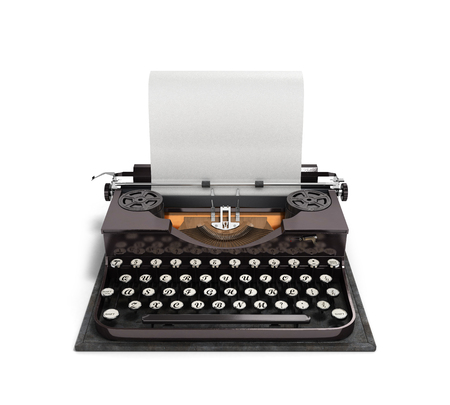 typewriter key: Retro rusty typewriter with paper sheet 3d render isolated on white background