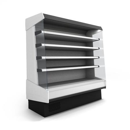 쇼케이스 냉장 흰색 배경에 고립 된 조명 된 전면 뷰 3d 렌더링