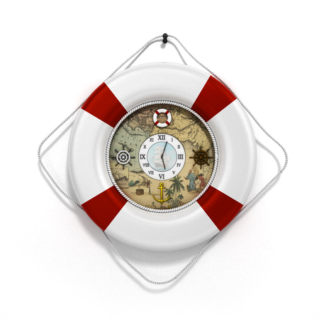 flotation: lifebuoy decor in the form of clock 3c render on a white background
