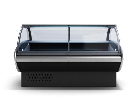 food display fridge 3d render on gradient 写真素材
