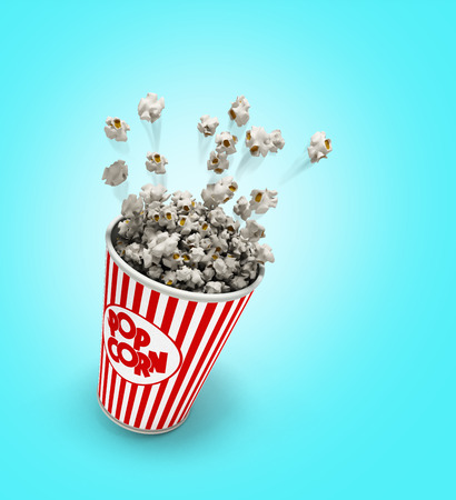 Popcorn in a striped red glass flies 3d render on a gradient background