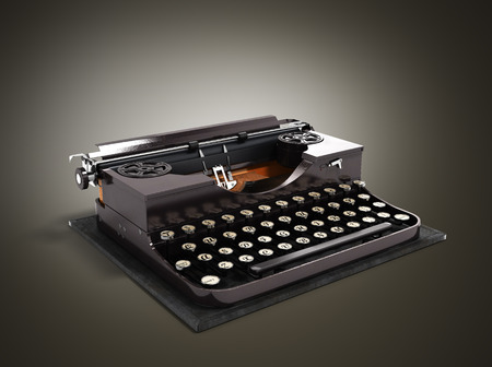 Retro rusty typewriter 3d render on gradient background