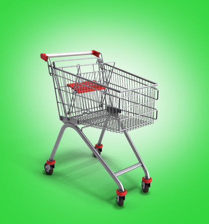 mart: empty trolley from the supermarket 3d render on green gradient background