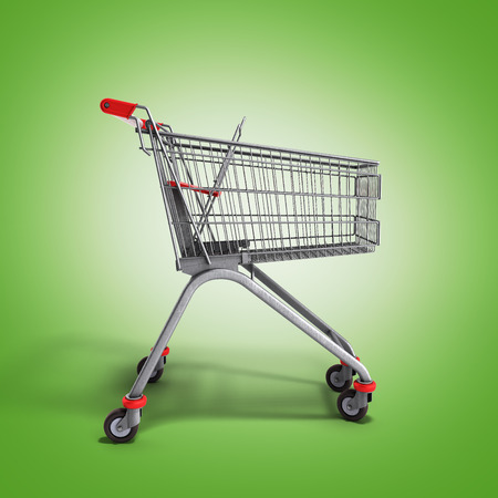 empty trolley from the supermarket 3d render on green gradient Stock Photo