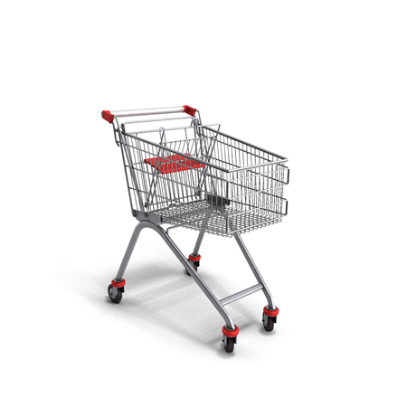 mart: empty trolley from the supermarket 3d render on white background Stock Photo