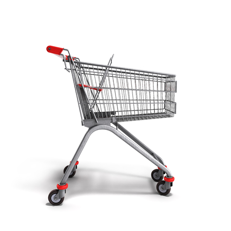 mart: empty trolley from the supermarket 3d render on white