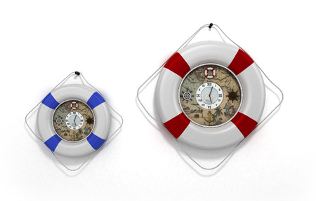 flotation: lifebuoy decor in the form of clock 3c render on a white
