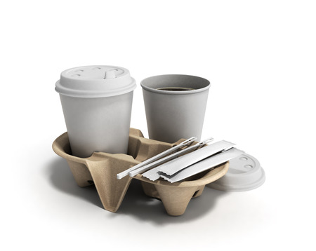 stirring: cup of coffee on a cardboard base with sugar and sticks for stirring 3d render on white Stock Photo