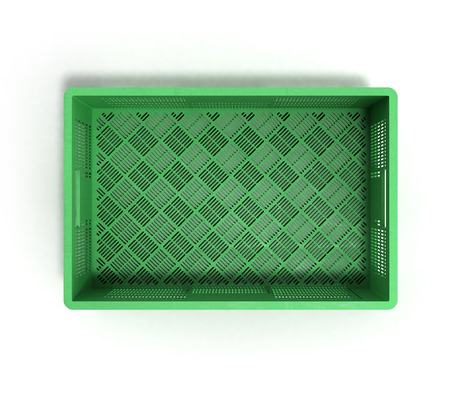 foldable: empty plastic box top view 3d render on white Stock Photo