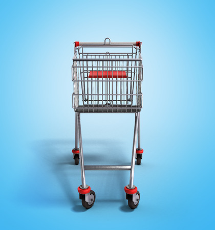 mart: empty trolley from the supermarket in front 3d render on gradient background Stock Photo