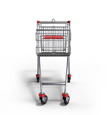 mart: empty trolley from the supermarket in front 3d render on white background Stock Photo
