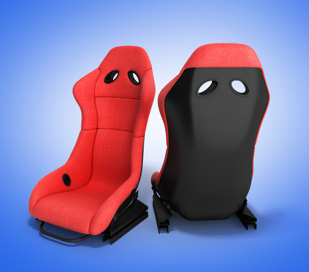 kph: sporty red automobile armchairs 3d render on a gradient background